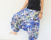 blue butterfly Hand made draw string  waist harem pants ,Thai batik sarong, size S-XL,unisex pants.