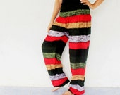 green and red  rayon harem pants , size S-XL ,trouser ,unisex pants,bohemain,yoga,spa pants,baggy pants ,gypsy ,jumpsuit