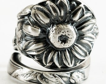 Silver Sunflower Ring, Flower Spoon Ring, 925 Sterling Silver, Botanical Jewelry, Nature Inspired Engagement Ring, Custom Ring Size (1144)