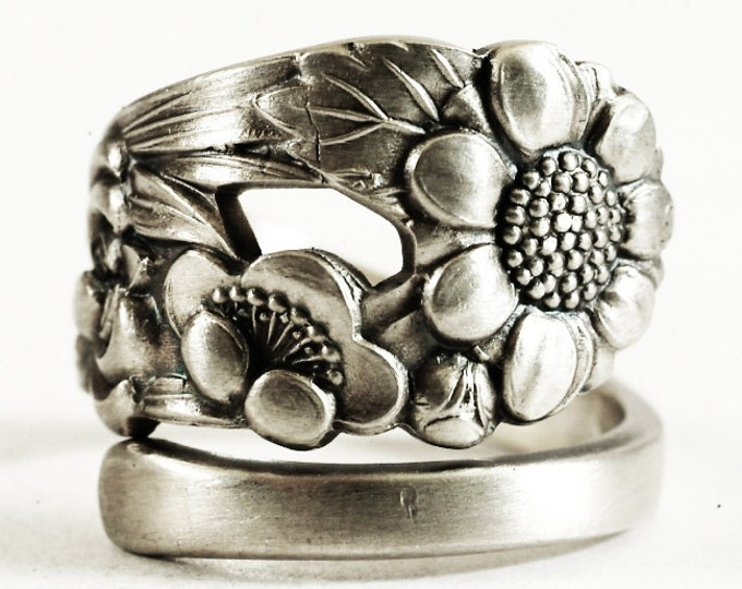 Rare Antique Wild Flower Spoon Ring, Japanese 950 Silver, Sterling Silver Spoon Ring, Nature Inspired Engagement Ring, Adjustable Ring, 6171