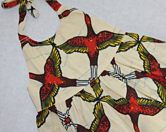 Bird print Ankara print baby dress 3-6 Months