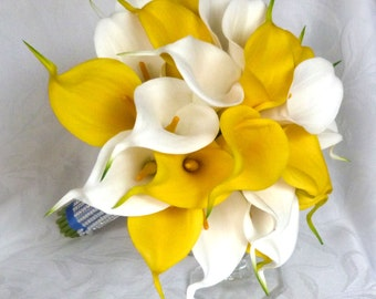Real touch white and Yellow Calla lily bridal bouquet yellow and white wedding flowers