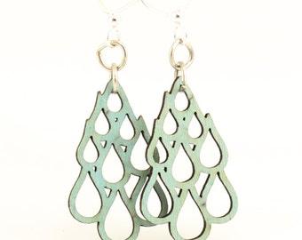 Rain Drop Blossom - Wood Earrings