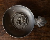 Vintage Chariot Pewter Plate Bowl With Handle / English Shop