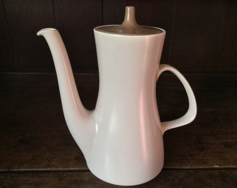 Vintage English Large Poole Pottery England Coffee Tea Pot Cream Beige Brown circa 1960's / English Shop