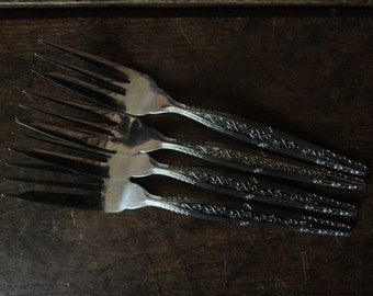 Vintage English 4 Stainless Steel Cake Forks Cutlery circa 1960's / English Shop