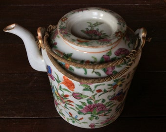 Antique Chinese wicker handled tea pot hand painted 1900s / English Shop