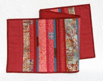 Gypsy red paisley and batik patchwork table runner