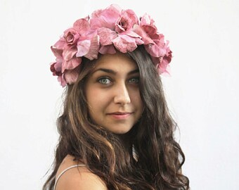 Velvet Pink Rose Crown - Pink Flower Crown, Lolita, Floral Crown, Bridal Head Piece, Flower Headdress, Bridal Flower Crown, Crown