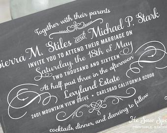 Printable Chalkboard Wedding Invitation
