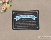 Chalkboard Blue Bring a Book Card - INSTANT DOWNLOAD - Charis Collection