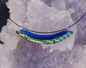 Fused Dichroic Glass Jewelry Pendant - Swoop Pendant rich Blue & Green tones