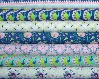 Peacock Garden Fat Quarter Bundle of 9 in Pink & Blue by Jane Farnham for Camelot Fabrics 6 LEFT