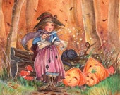 Witches Charm -5x7 or 4x6(10 x 15cm) archival print-whimsical Halloween autumn magical woodland fairytale childrens illustration