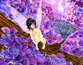 Blossom -original whimsical flower fairy fantasy purple pink lilac blossom watercolor nature illustration
