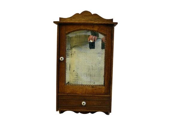 Beau Small Antique Brass Medicine Cabinet: Antique Oak Medicine Cabinet W/ Bead Trim & By Curioustrifles