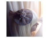 Fascinator / Brooch,Variegated Gray & Brown Knit Yarn With Feathers, Button, Dual Purpose Pin / Clip Hair, Coat, Bag, Scarf,  FREE SHIP USA