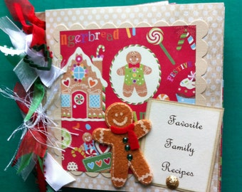 Recipe scrapbook album gingerbread theme premade family recipes Christmas recipes