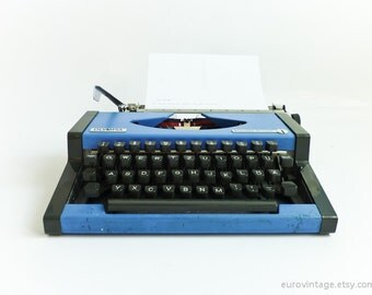 Vintage Blue Typewriter Olympia Traveller De Luxe 70s 80s
