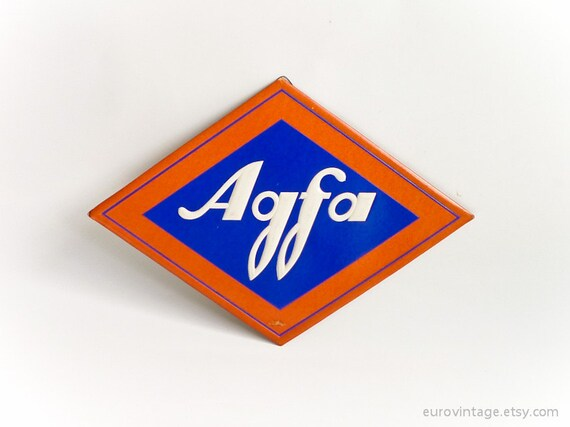 Vintage 50s Rare Agfa Logo Sign Cardboard Blue Red White