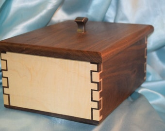 Walnut curly maple double doubles box  joint jewelry box