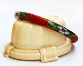 Vintage Cloisonne Cinnabar Chinese Bangle Bracelet
