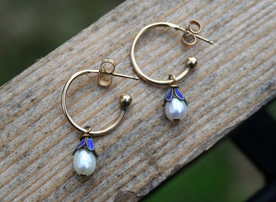 Vintage Gold Filled and Blue Enamel Pearl Earrings