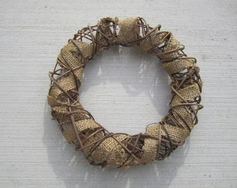 Burlap with twig wreath- ready to decorate - 16""