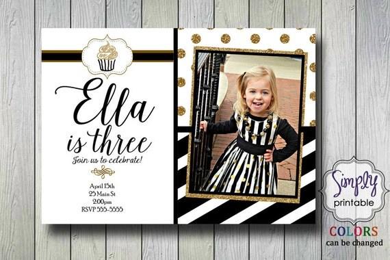 Black Gold Invite Polka Dot with Photo