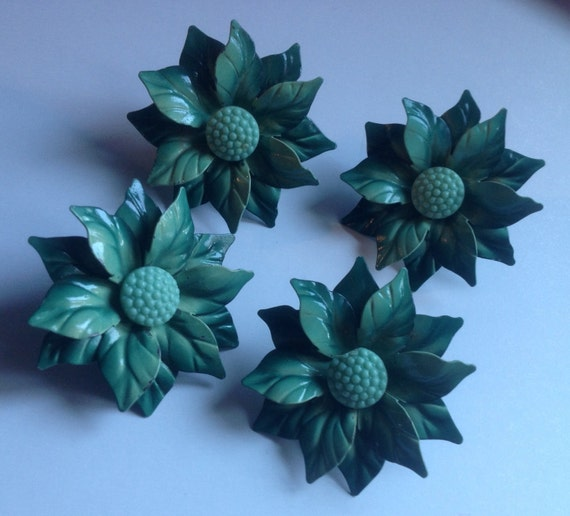4 Floral Green Enamel Push Pin Curtain Tie Backs By Art4u2buy