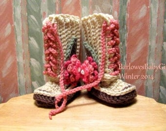 Buggs -  Crochet Baby Lace Up Booties w/ Detachable Mixed Pinks Three Tier Flower w/ Leaf