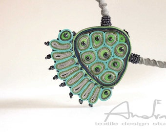 Statement necklace green, textile necklace turquoise - Handmade textile jewelry OOAK ready to ship