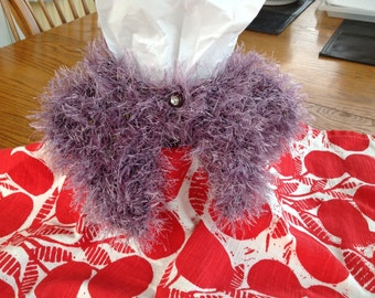 Pretty in Purple!  OOAK.  Hand knit baby shrug for 6 month old baby.