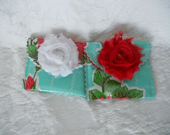 Last Two Mini Wallet Retro Look Snap Wallet - Credit Card Wallet -Shabby Chic Flower - Oilcloth Wallet -  Ready to Ship