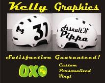 Custom Roller Derby Vinyl Sport Helmet Decal Name & Number
