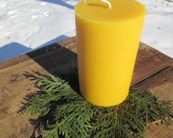 "Pillar Beeswax Candle- 3"" wide by 4.75"" tall"