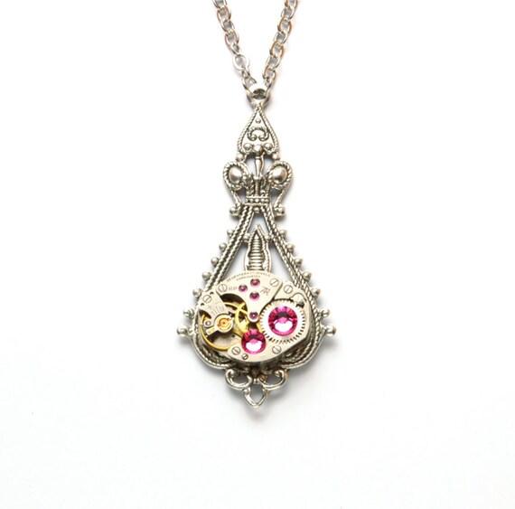 OCTOBER PINK Steampunk Necklace Steampunk Wedding Vintage Watch Necklace Ant Silver Victorian Steampunk Wedding Jewelry VictorianCuriosities