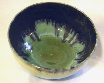 Black and Green Serving Bowl, Sky Blue, Tan, Porcelain, Handmade, Deep, Born of fire, food safe, oven safe, dishwasher safe, microwave safe