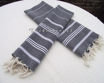 Turkishtowel-NEW Set of 2-Hand woven Peshkirs-Hand towels,Tea towels,Dish towels,Neck Warmers,Bath Towels-White stripes on Black
