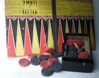 Vintage Checker Backgammon Board and Checkers Pieces