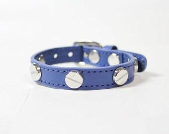 French Stud Leather Bracelet(Blue)