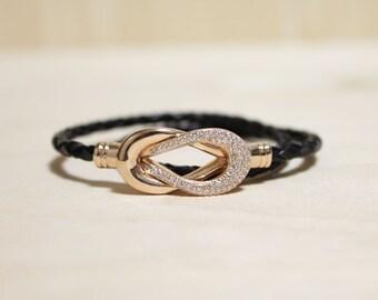 Rose Gold Plated Eternity Motive leather Bracelet(Black)