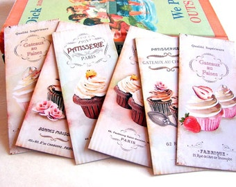 Bookmarks - French Bakery Paris Patisserie Cupcakes With Frosting Strawberry Chocolate Pink Flowers Baking - Set Of 6 Small Paper Bookmarks