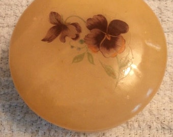 Alabaster Pansy Trinket Box Hand Carved Italy Circa 1950s