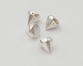 4 of 925 Sterling Silver Tiny Cone Beads 5x5.5mm.  :th2112