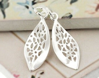 2 of 925 Sterling Silver Twisted Leaf  Charms 8.5x20 mm. :th2192