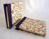 Pocket Sized Journal Sketchbook Handbound Archival Florentine Floral in Red Roman / Violet Binding Delicate Gold Metallic Scroll Print