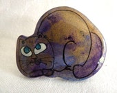 Vintage Green Eyed Cat Pin Handcrafted Ceramic in Purples Blues Gold Metallic Sheen