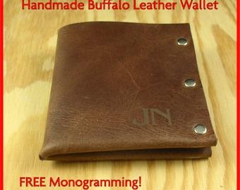 Mens Wallet Men FREE MONOGRAMMING! - Men's Leather wallet, Men's Wallet, Thin Leather Wallet, Minimal Leather Wallet Handmade