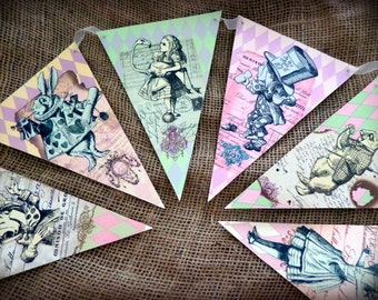 Vintage Style 'Alice in Wonderland' Bunting/Banner with Cream Organza Ribbon - 2m or 3m